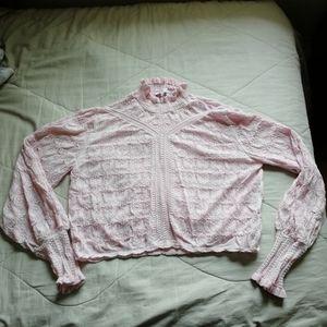 ZARA pink pointelle knit high neck lace sweater L